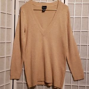 NY COLLECTION LONG SLEEVED GOLD SWEATER Sz M